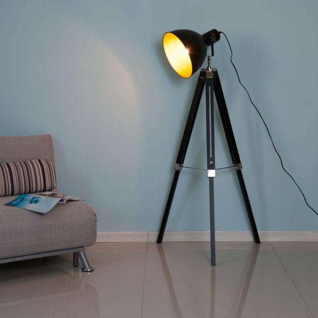 HOMCOM - Lampadaire trépied style industriel hauteur réglable abat-jour ajustable E27 40W max. 65 x 65 x 108-152 cm bois métal noir et doré 38GD 65cm x 152cm x 65cm