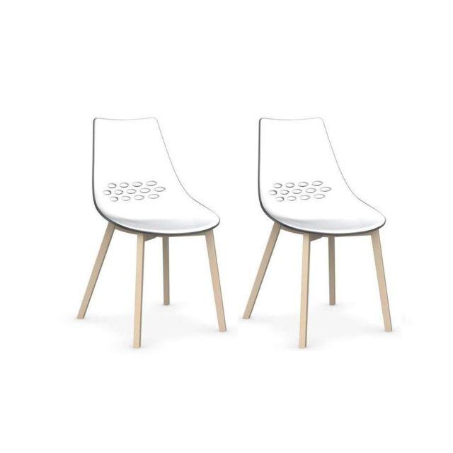 Inside 75 Lot de 2 chaises Jam W transparent piétement hêtre blanchi