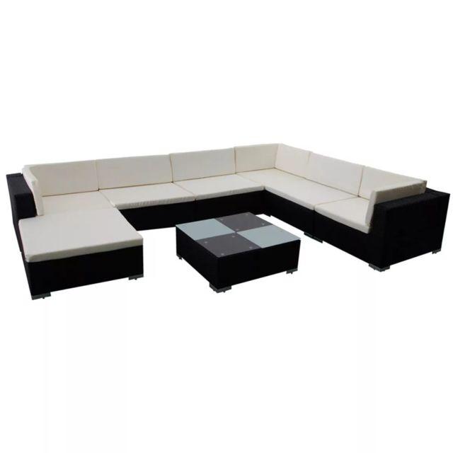 Icaverne - Ensembles de meubles d'extérieur serie Jeu de meuble de jardin 24 pcs Noir Résine tressée