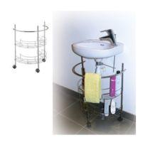 Msv - Rangement de salle de bain sous-lavabo em métal chromé