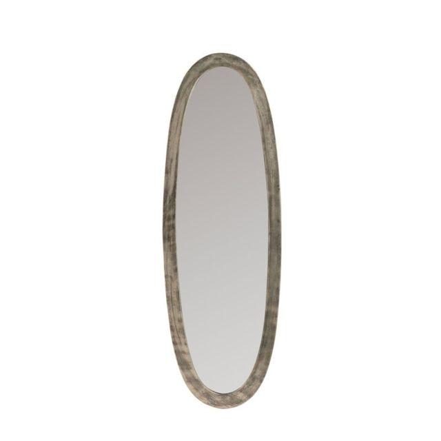 Tousmesmeubles Miroir mural ovale Gris taille S - Erza