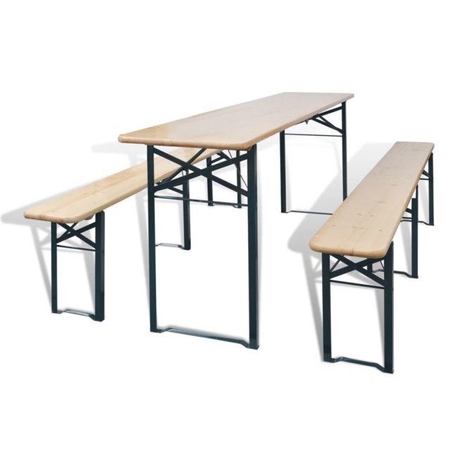 Vidaxl Table avec 2 bancs 220 cm Bois de sapin | Brun