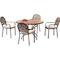 Hevea Salon De Jardin Table Ronde Et Fauteuils  Places