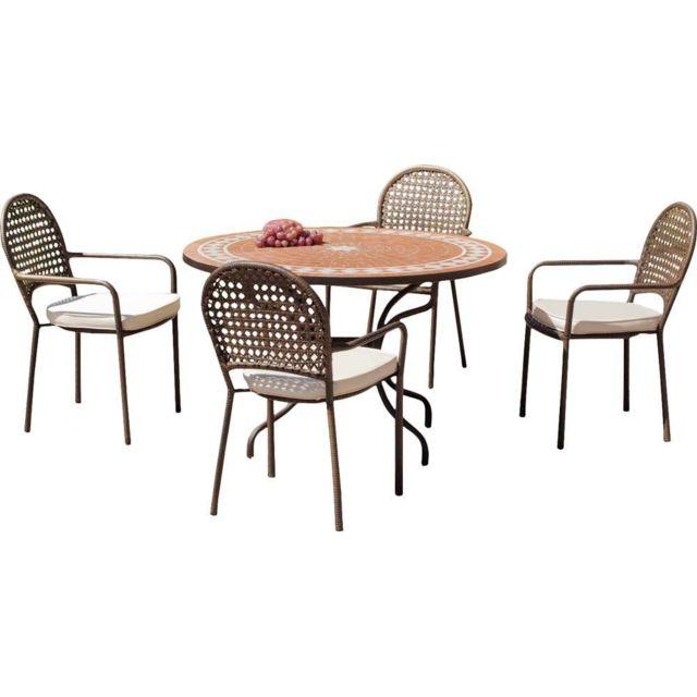 HEVEA - Salon de jardin table ronde et fauteuils 4 places ...