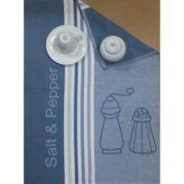Aucune - Lot de 6 torchons de cuisine Coralie sel et poivre bleu 50x70 cm