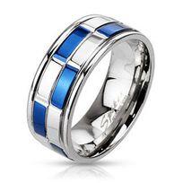 Renobijoux - Anneau Homme Blue Steel Design 8mm