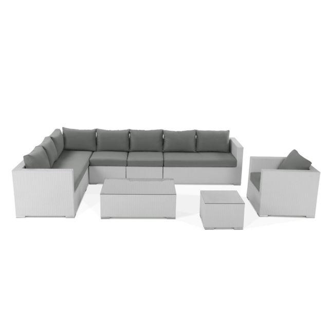 BELIANI - Salon de jardin en rotin blanc - coussins gris - XXL - pas ...
