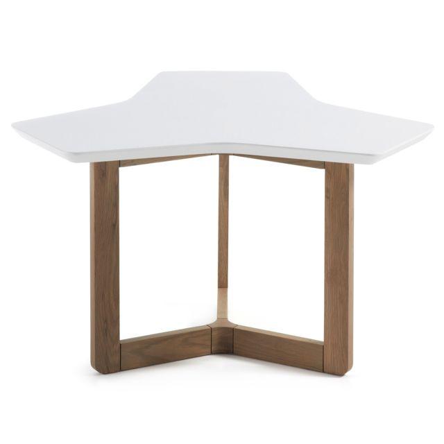 Kavehome Table d'appoint Treffles 76 cm, chene et blanc