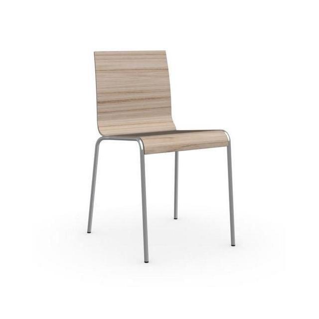 Inside 75 Chaise Online piétement acier satiné assise bois naturel