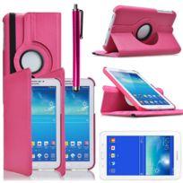Vcomp - Housse avec support Et Rotation 360° en cuir Pu pour Samsung Galaxy Tab 3 Lite 7.0 T110/ Tab 3 Lite 7.0 Ve Wi-Fi T113/ Tab 3 V T116NU/ Tab 3 Lite 7.0 3G T111 + stylet - Rose
