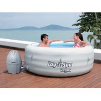 Best Way - Spa gonflable Lay-z Spa Vegas - 4/6 places - rond - gonflable - textile - DVD - doseur flottant - cartouches Type VI