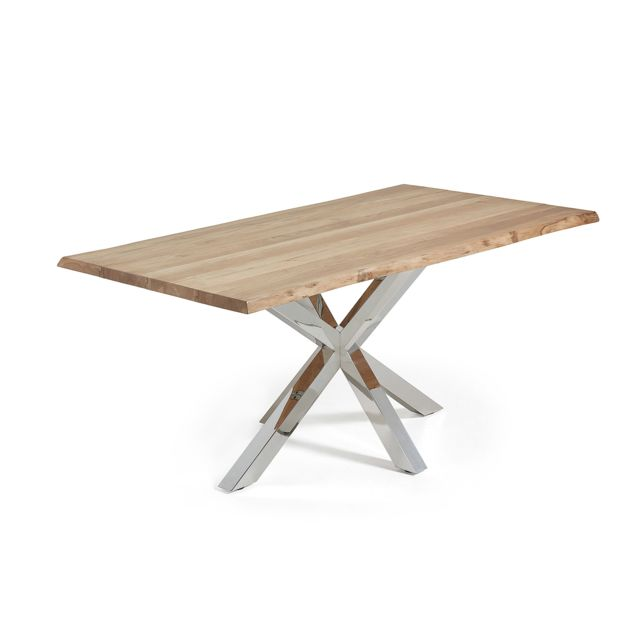 Kavehome Table New Argo 180x100, Inox Chêne naturel