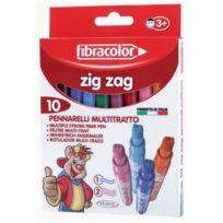 Fibracolor - feutre zig zag 2 et 3 pointes assorti - pochette de 10