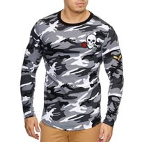 Violento - Pull camouflage oversize Pull homme 818 blanc