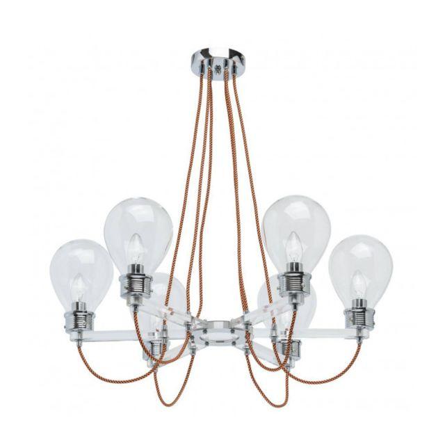 Luminaire Center Suspension chromée Loft 6 ampoules 72 Cm