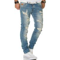 45816b6afd368 Justing - Jeans homme skinny déchiré Jeans 1203 bleu W33 L32 - pas ...