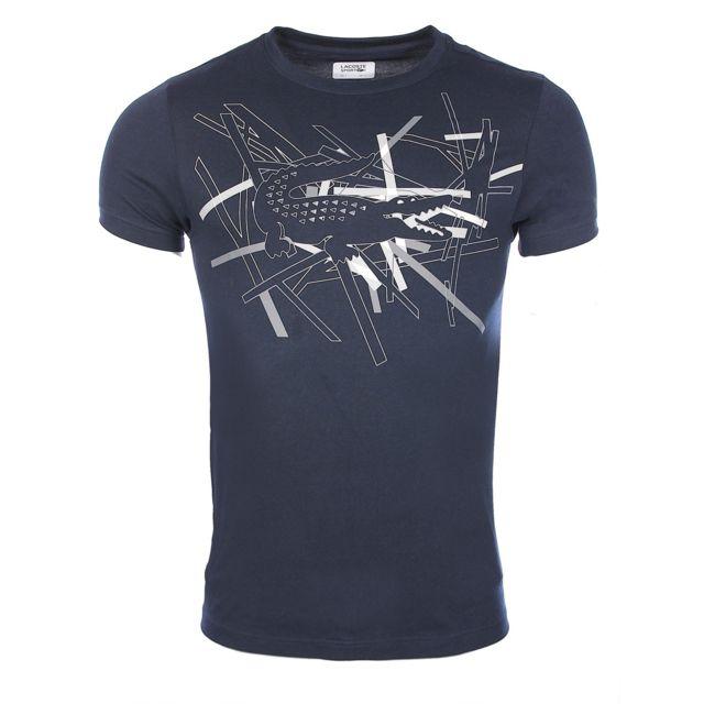 T Th9326 Col Motifs Shirt Bleu Ultra À Rond Homme Lacoste Marine P5q4KwARx