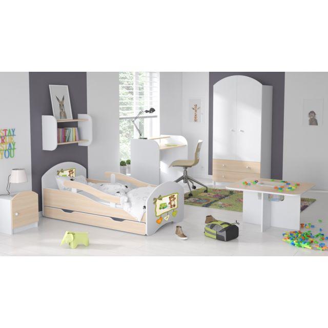 Mpc Lit enfant avec matelas et tiroir stickers ours 160 x 80