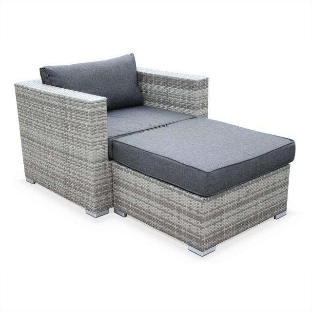 ALICE'S GARDEN Genova Nuances de gris / Gris - Salon de jardin Genova, fauteuil + pouf en résine tressée nuances de gris, coussins Gris