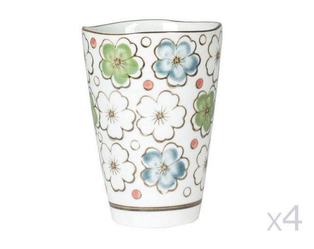 Table Passion Gobelets en porcelaine 22cl motif floral - Coffret de 4 pièces Choshi
