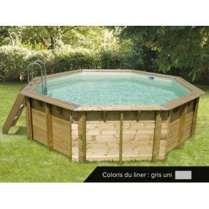 Ubbink piscine bois oc a 4 30 x 1 20 m liner gris for Piscine bois liner gris