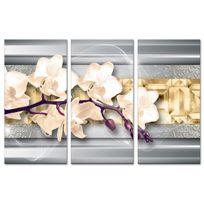 Declina - Tableau triptyque moderne décoration fleurs - Impression sur toile