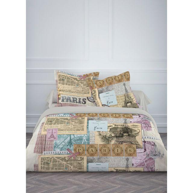 today parure de couette 100 coton 57 fils 240x220 paris vintage gris pas cher achat vente. Black Bedroom Furniture Sets. Home Design Ideas