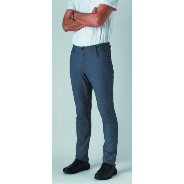 Robur Pantalon de cuisine jean stretch Austin 100% coton