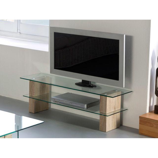 Marque Generique Meuble Tv 2 plateaux en verre trempé/pieds bois décor San remo L120cm Rosario
