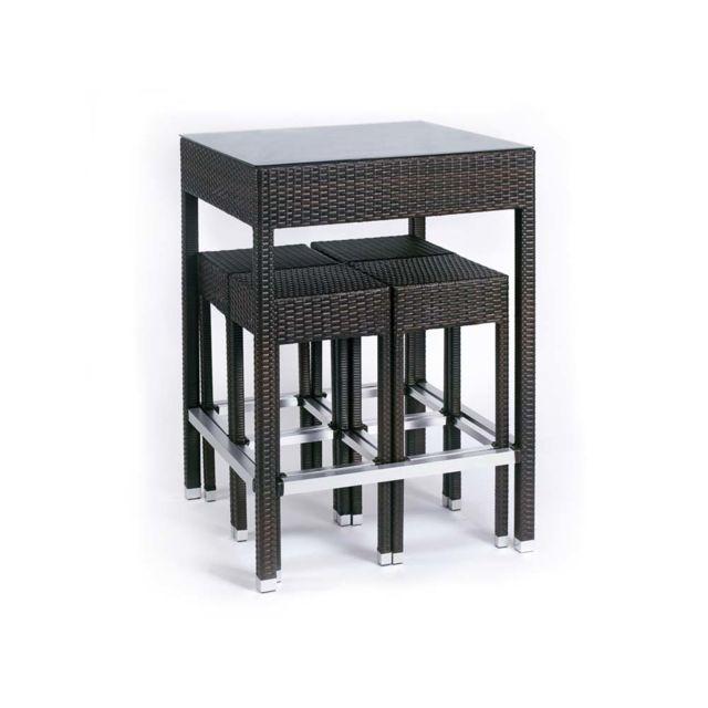 Habitat et Jardin - Ensemble Alto - Table haute + 4 tabourets NC ...