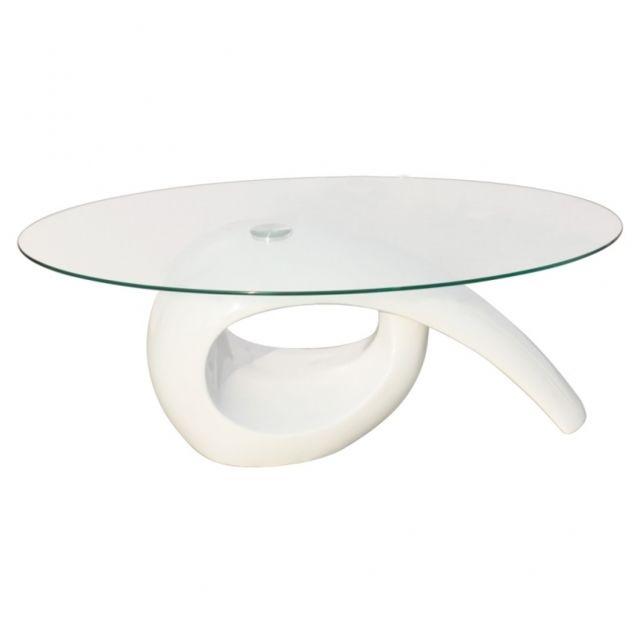 Autre Table basse de salon salle à manger design blanche verre 115 x 64 cm 0902016