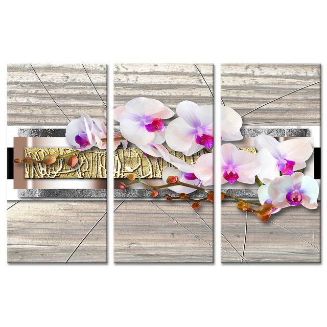 declina - tableau triptyque zen fleurs orchidées - tableau deco pas