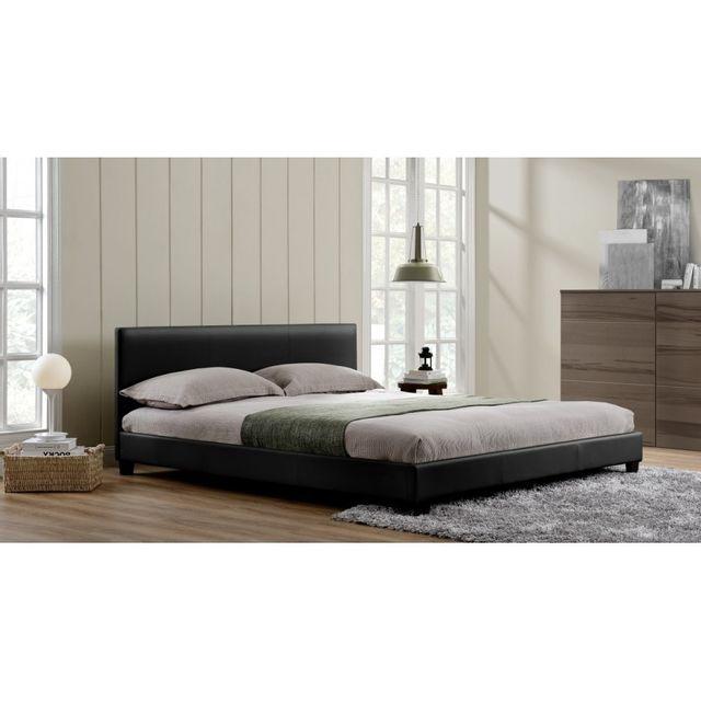 rocambolesk magnifique lit paris 160x200cm cadre de lit en simili cuir noir 160cm x 200cm. Black Bedroom Furniture Sets. Home Design Ideas