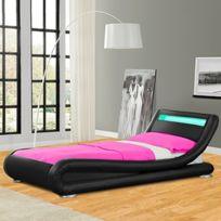 Meubler Design - Lit design Led Julia - Couleurs - Noirs - 90x190