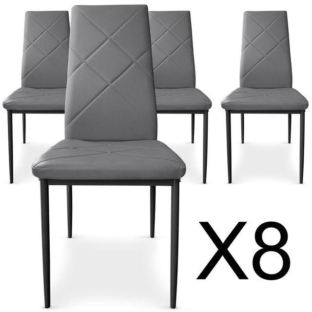 lot de 8 chaises paule gris pas cher achat vente chaises rueducommerce. Black Bedroom Furniture Sets. Home Design Ideas