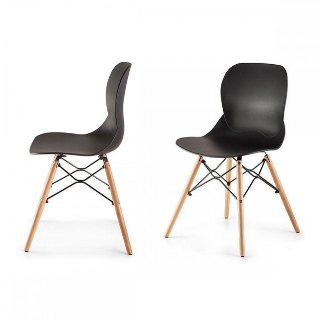 Homekraft Boras Lot de 2 chaises style scandinave nordique Noir