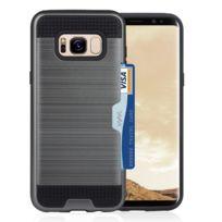 Wewoo - Coque Pour Samsung Galaxy S8 avec support de fente pour carte de crédit Tpu + Pc housses de téléphone portable Gris
