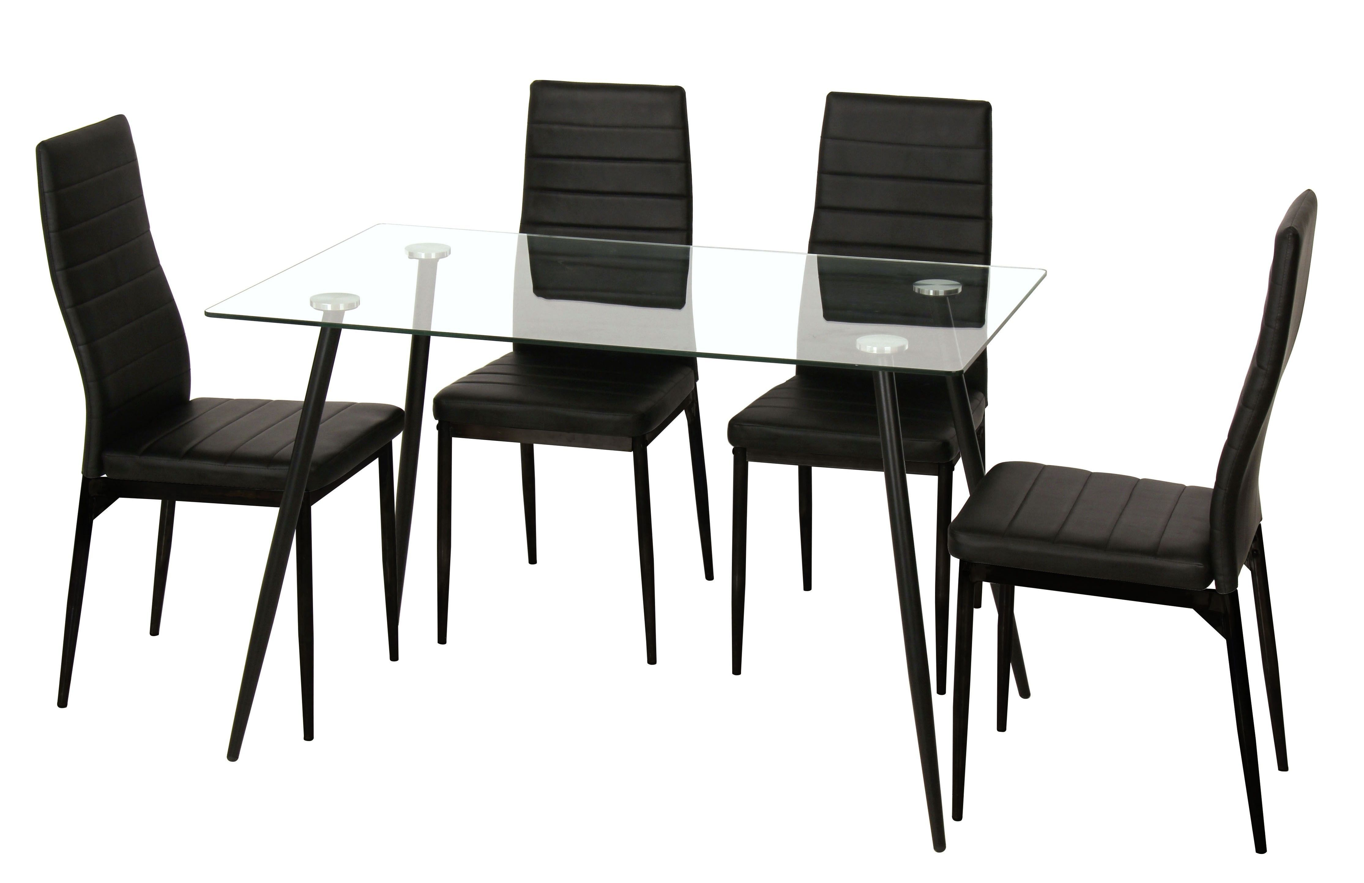 Ensemble table avec plateau de verre 140 x 180 cm + 4 chaises