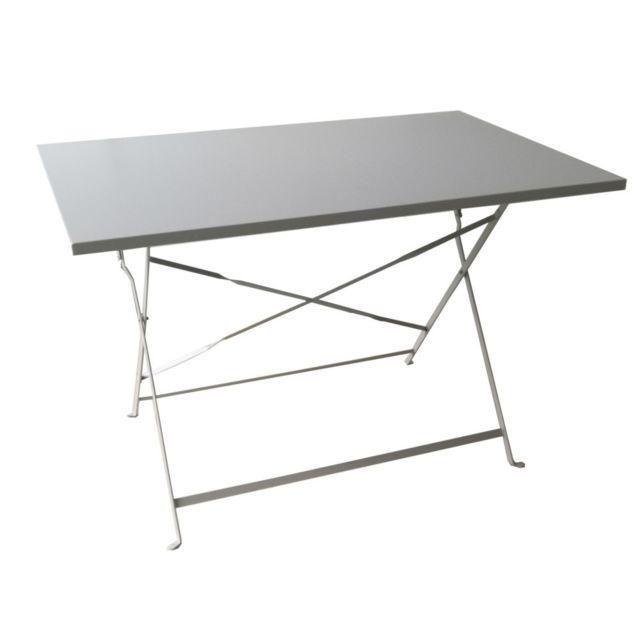 Table de jardin en acier Madera grise L.110 x l.70 cm. Structure en acier. Dimensions : 110 x 70 cm. Coloris gris
