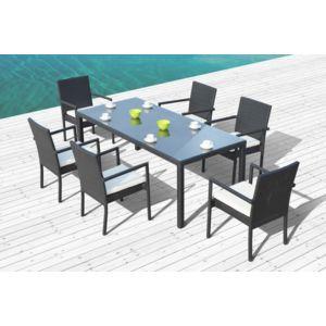 Concept Usine - Salon de jardin Atlas - Table + 6 Fauteuils en ...