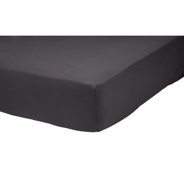 TEX HOME Drap housse en percale de coton durable Drap housse en percale de coton durable 180x200 cm - anthracite