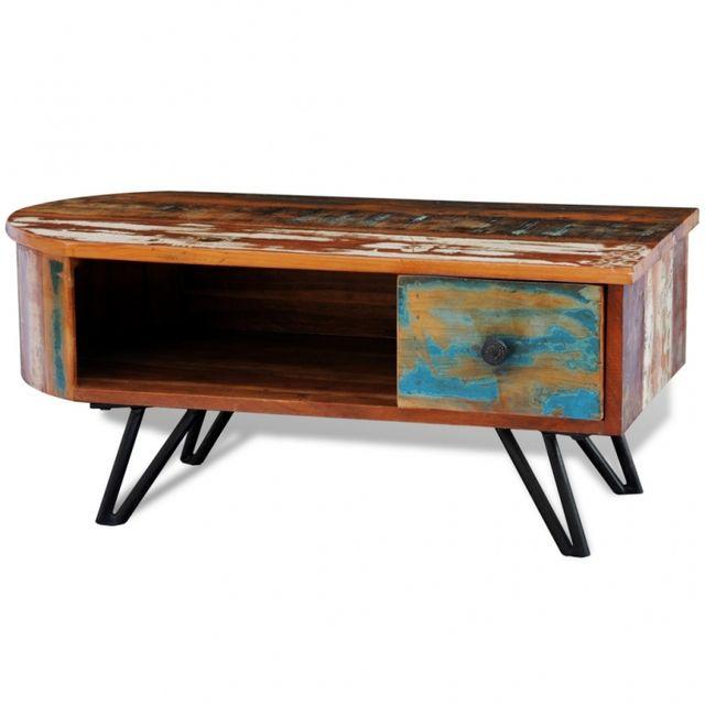Casasmart Table basse en bois recyclé pieds en fer
