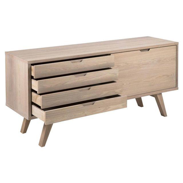 Kaligrafik - Buffet en bois massif avec 4 tiroirs et 1 portes A-line Marron