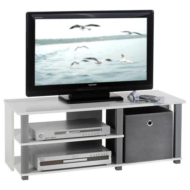 IDIMEX Meuble banc TV design DENVER décor blanc et gris