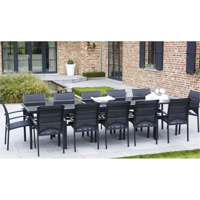 Wilsa - Table extensible de qualité en aluminium noire et verre ...