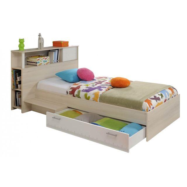 Altobuy Willy Lit Xcm Avec Tiroir Tête De Lit Beige - Tete de lit tiroir