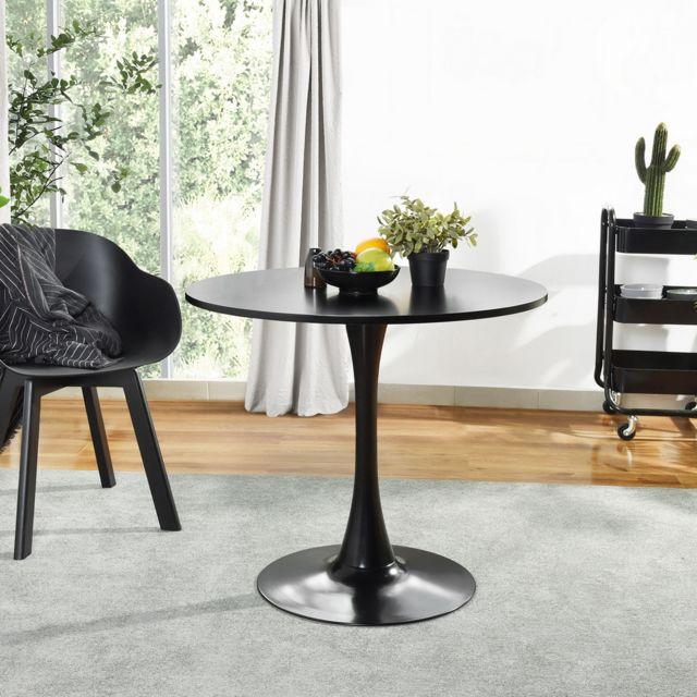 Mobilia Table à manger ronde noir 4 places