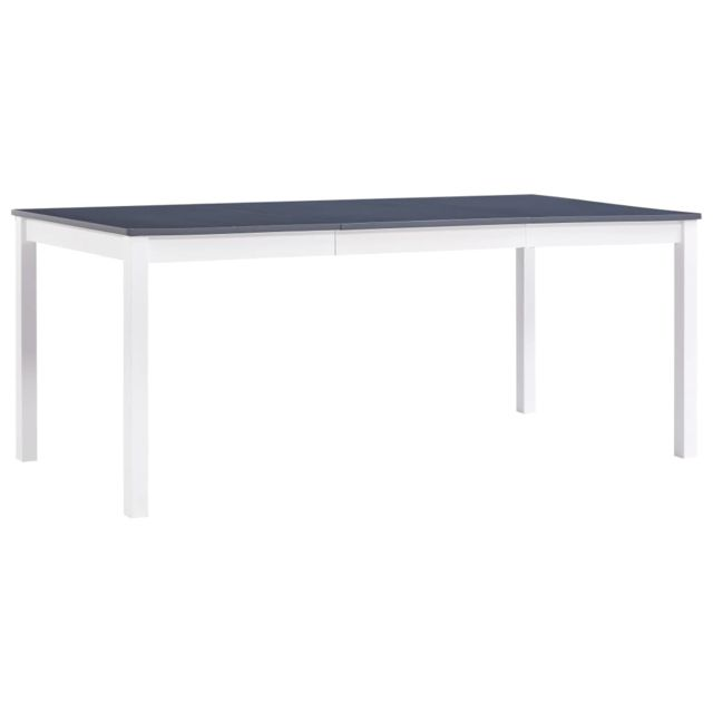Admirable Tables edition Damas Table de salle à manger Blanc et gris 180 x 90 x 73 cm Pin