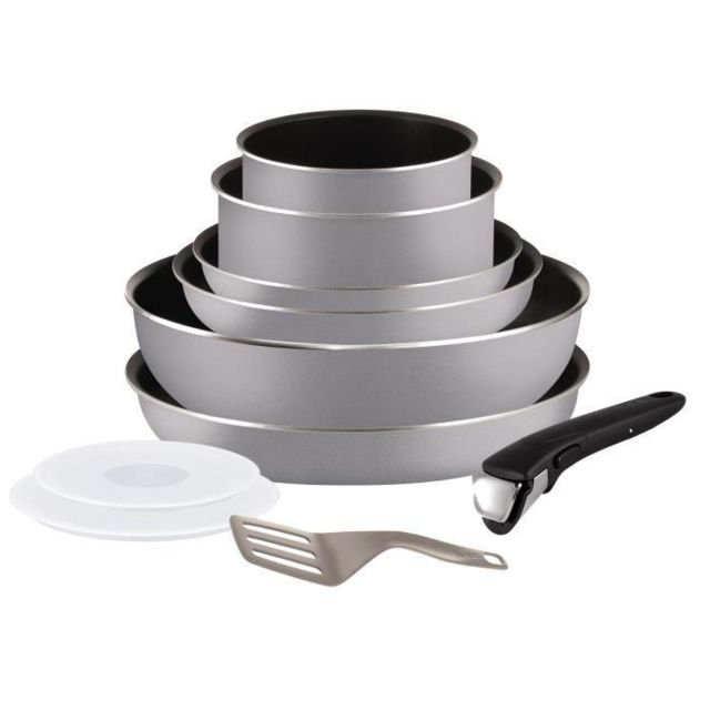 TEFAL - Ingenio Essential Batterie de cuisine 10 pieces 16-18-20-22-26cm tous feux sauf induction