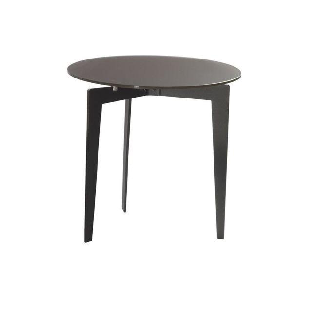 Inside 75 Table basse ronde Dallas en verre dépoli noir